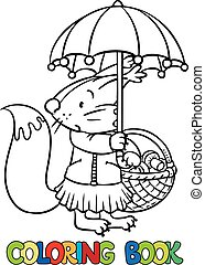 Little funny squirrel with umbrella. Coloring book