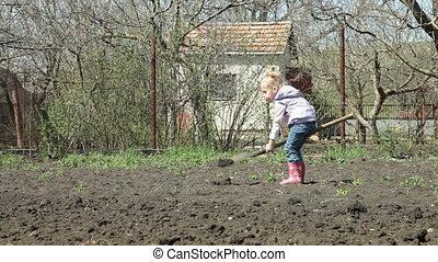 Little Gardener Digging - Little Girl Gardener Digging on...
