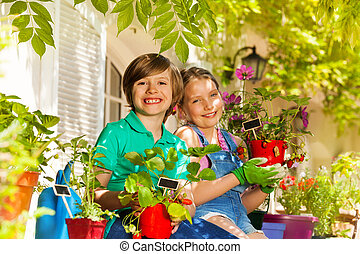 Little gardeners with potted strawberries plants