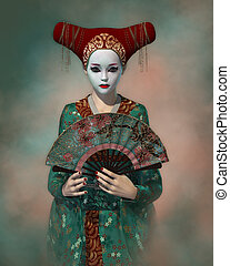 Little Geisha, 3d CG - 3d computer graphics of a girl with...