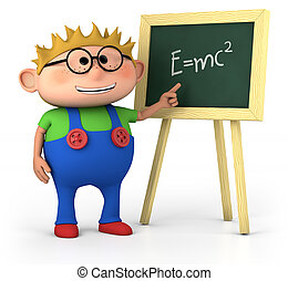 little genius - smart little boy with blackboard - high...