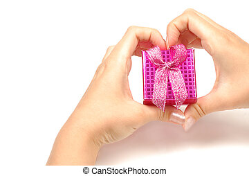 little gift box in hands