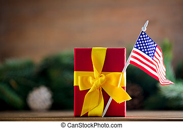 Little gift box with United States of America flag