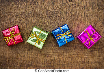 Little gift boxes on the floor