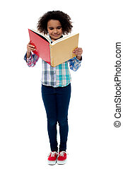 Little girl a reading book