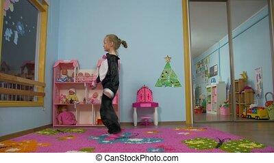 Little Girl Active Skipping Rope - Little caucasian white...