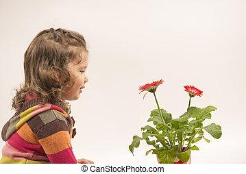 Little girl admiring flowers