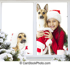 little girl and a puppy waiting for Christmas
