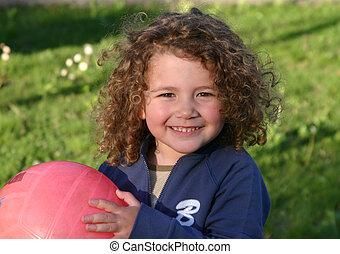 little girl and ball