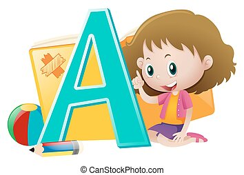 Little girl and big letter A
