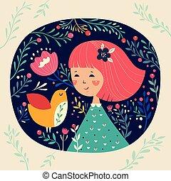Little girl and bird