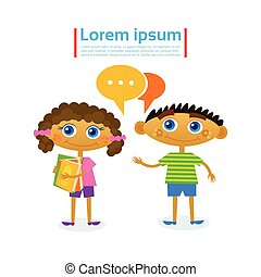 Little Girl And Boy Talking Hold Stack Of Books Reading Hobby