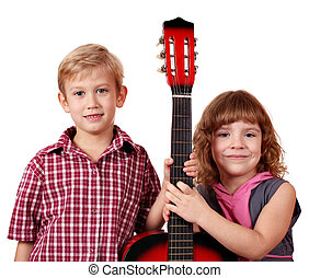 little girl and boy with guitar