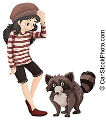 Little girl and cute racoon illustration