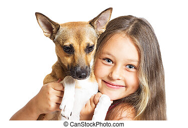 little girl and doggy on a white background