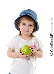 Little girl and green apple