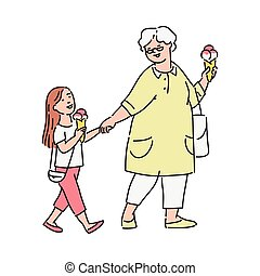 Little girl and her grandmother eating ice-cream outdoors vector illustration.