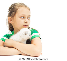 little girl and kitten on a white background isolated