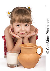 Little girl and milk