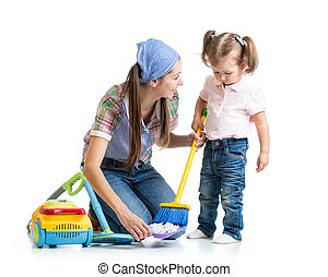 Little girl and mom cleaning room isolated