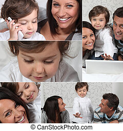Little girl and parents with laptop, photo-montage
