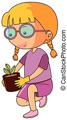 Little girl and potted plant illustration