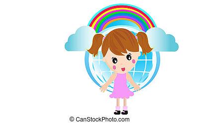 Little Girl and rainbow