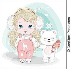 little girl and Teddy bear Happy Birthday Winter Card