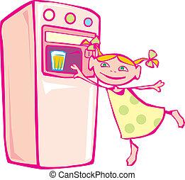 Little girl and vending machine. Vector illustration.