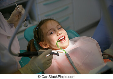 Little girl at dentist office