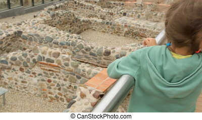 Little girl at ruins of Serdica in Sofia
