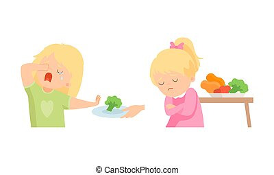 Little Girl at Table Showing Dislike and Disgust Towards Broccoli and Vegetable Vector Set. Kid Displaying Eating Preference Refusing Eating Healthy Food Concept