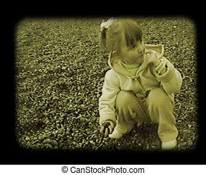 little girl shoot the stones to the sea stylized at old movie