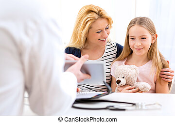 Little girl at the doctor with her mother
