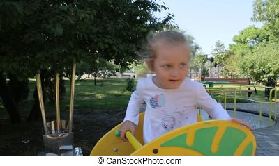 Little Girl At The Playground - Little girl caucasian white...