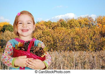 little girl autumn scene