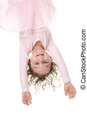 little girl balerina dancer isolated on white background