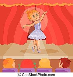 Little girl ballerina giving a presentation