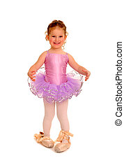 Cute Little Girl Wears a Ballet Tutu and Large Pointe Shoes