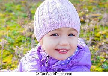 little girl beautiful close up portrait outdoor