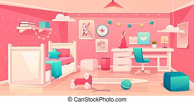 Little girl bedroom cozy interior cartoon vector