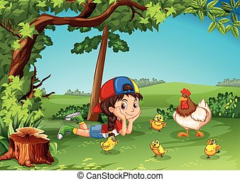 Little girl being with chickens