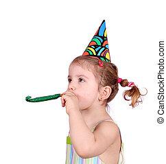little girl birthday party on white