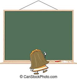 little girl blackboard