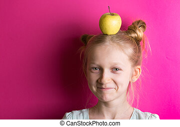 little girl blonde on a pink background