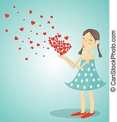 Little Girl Blowing A Heart