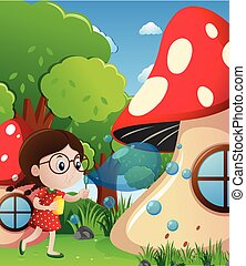 Little girl blowing bubbles in park illustration