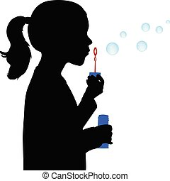 Vector illustration of little girl blowing soap bubbles ...