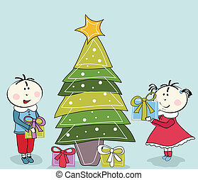 little girl, boy and Christmas Tree
