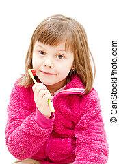 little girl brushing her teeth isolated on white stock photo csp3027582